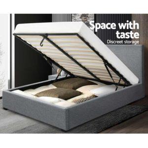 BFRAME E NINO K GY AB 06 300x300 - Artiss King Size Gas Lift Bed Frame Base With Storage Mattress Grey Fabric NINO