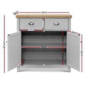 FURN F MED2 SB GY AB 01 300x300 - Artiss MEDI Sideboard Buffet Storage Cabinet Cupboard Drawer Dresser Table Grey