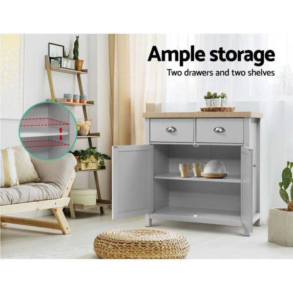 FURN F MED2 SB GY AB 03 600x600 - Artiss MEDI Sideboard Buffet Storage Cabinet Cupboard Drawer Dresser Table Grey