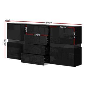 FURNI L LED SB01 BK ABC 01 300x300 - Artiss Buffet Sideboard Cabinet High Gloss Storage Cupboard Doors Drawer RGB LED