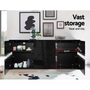 FURNI L LED SB01 BK ABC 05 300x300 - Artiss Buffet Sideboard Cabinet High Gloss Storage Cupboard Doors Drawer RGB LED