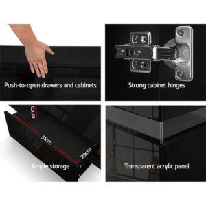 FURNI L LED SB01 BK ABC 06 300x300 - Artiss Buffet Sideboard Cabinet High Gloss Storage Cupboard Doors Drawer RGB LED