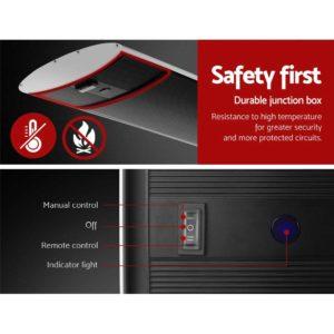 RHP RC 1800 BKX2 06 300x300 - Devanti 2X 1800W Electric Radiant Strip Heater Panel Outdoor Heat Bar Remote Control Black