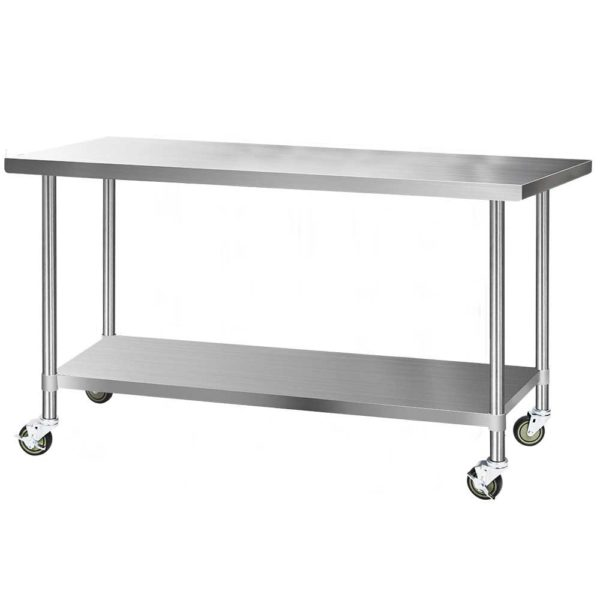 SSKB 430S 76 WHEEL 72 00 600x600 - Cefito 1829 x 762mm Commercial Stainless Steel Kitchen Bench with 4pcs Castor Wheels