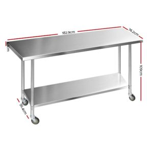 SSKB 430S 76 WHEEL 72 01 300x300 - Cefito 1829 x 762mm Commercial Stainless Steel Kitchen Bench with 4pcs Castor Wheels