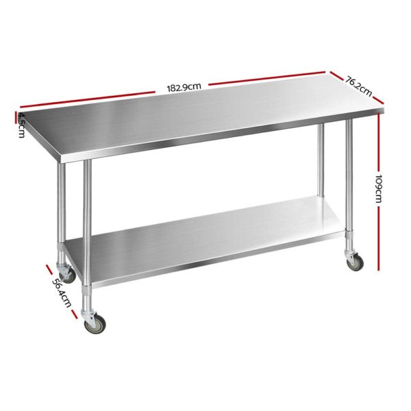 SSKB 430S 76 WHEEL 72 01 600x600 - Cefito 1829 x 762mm Commercial Stainless Steel Kitchen Bench with 4pcs Castor Wheels