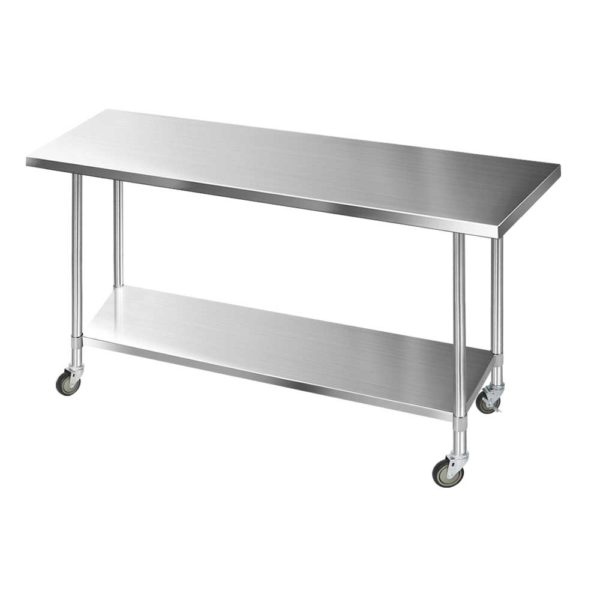 SSKB 430S 76 WHEEL 72 02 600x600 - Cefito 1829 x 762mm Commercial Stainless Steel Kitchen Bench with 4pcs Castor Wheels