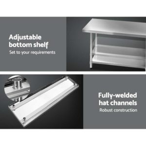 SSKB 430S 76 WHEEL 72 03 300x300 - Cefito 1829 x 762mm Commercial Stainless Steel Kitchen Bench with 4pcs Castor Wheels