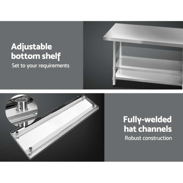 SSKB 430S 76 WHEEL 72 03 600x600 - Cefito 1829 x 762mm Commercial Stainless Steel Kitchen Bench with 4pcs Castor Wheels