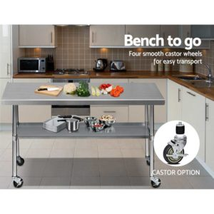 SSKB 430S 76 WHEEL 72 05 300x300 - Cefito 1829 x 762mm Commercial Stainless Steel Kitchen Bench with 4pcs Castor Wheels