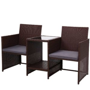 ODF LOVESEAT S BR 00 300x300 - Gardeon Outdoor Setting Wicker Loveseat Birstro Set Patio Garden Furniture Brown