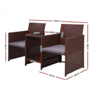 ODF LOVESEAT S BR 01 300x300 - Gardeon Outdoor Setting Wicker Loveseat Birstro Set Patio Garden Furniture Brown