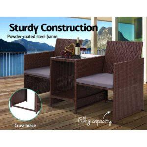 ODF LOVESEAT S BR 04 300x300 - Gardeon Outdoor Setting Wicker Loveseat Birstro Set Patio Garden Furniture Brown