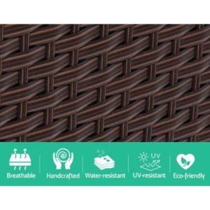 ODF LOVESEAT S BR 05 300x300 - Gardeon Outdoor Setting Wicker Loveseat Birstro Set Patio Garden Furniture Brown