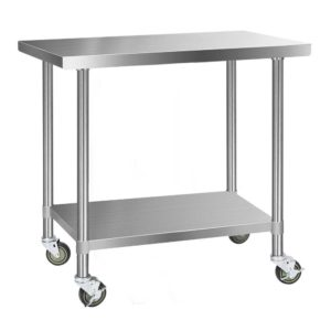 SSKB 304S WHEEL 48 00 300x300 - Cefito 304 Stainless Steel Kitchen Benches Work Bench Food Prep Table with Wheels 1219MM x 610MM