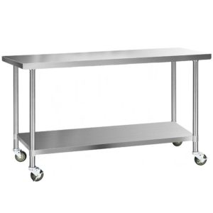 SSKB 304S WHEEL 72 00 300x300 - Cefito 304 Stainless Steel Kitchen Benches Work Bench Food Prep Table with Wheels 1829MM x 610MM