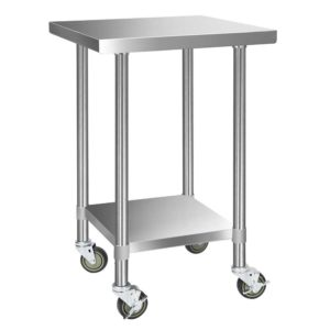 SSKB 430S WHEEL 24 00 300x300 - Cefito 430 Stainless Steel Kitchen Benches Work Bench Food Prep Table with Wheels 610MM x 610MM