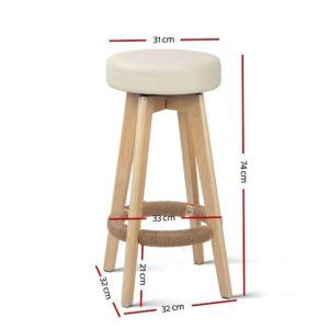bent c 078a crx2 01 300x300 - Artiss 2x Kitchen Bar Stools Wooden Bar Stool Swivel Barstools Counter Chairs 74cm Leather Cream