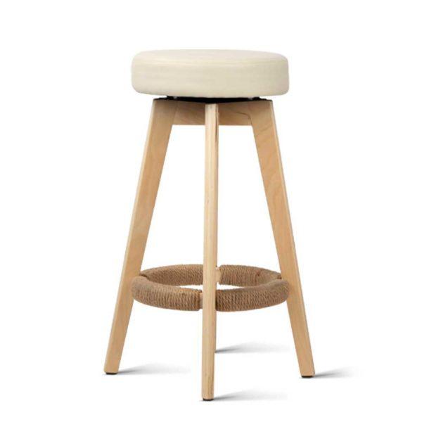 bent c 078a crx2 02 600x600 - Artiss 2x Kitchen Bar Stools Wooden Bar Stool Swivel Barstools Counter Chairs 74cm Leather Cream