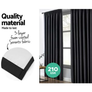CURTAIN HOOK D213X140 BK 03 300x300 - Art Queen 2 Pencil Pleat 140x213cm Blockout Curtains - Black