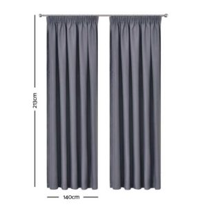 CURTAIN HOOK D213X140 DG 01 300x300 - Art Queen 2 Pencil Pleat 140x213cm Blockout Curtains - Dark Grey