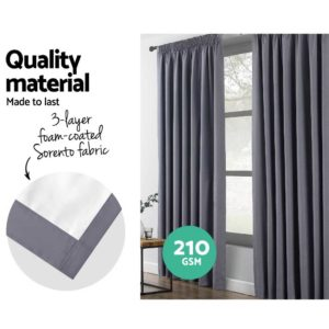 CURTAIN HOOK D213X140 DG 03 300x300 - Art Queen 2 Pencil Pleat 140x213cm Blockout Curtains - Dark Grey