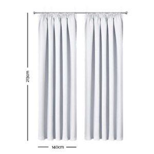 CURTAIN HOOK D213X140 WH 01 300x300 - Art Queen 2 Pencil Pleat 140x213cm Blockout Curtains - White