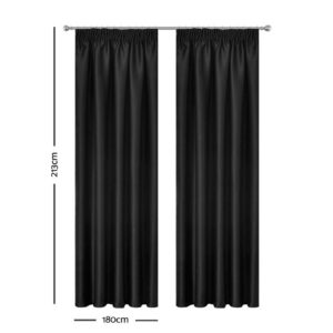CURTAIN HOOK D213X180 BK 01 300x300 - Art Queen 2 Pencil Pleat 180x213cm Blockout Curtains - Black