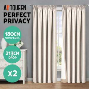 CURTAIN HOOK D213X180 SD 02 300x300 - Art Queen 2 Pencil Pleat 180x213cm Blockout Curtains - Sand