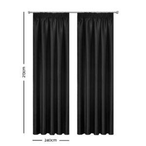 CURTAIN HOOK D213X240 BK 01 300x300 - Art Queen 2 Pencil Pleat 240x213cm Blockout Curtains - Black