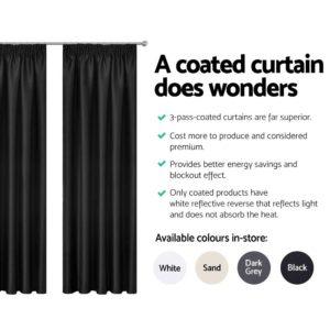 CURTAIN HOOK D213X240 BK 04 300x300 - Art Queen 2 Pencil Pleat 240x213cm Blockout Curtains - Black
