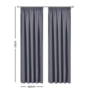 CURTAIN HOOK D213X240 DG 01 300x300 - Art Queen 2 Pencil Pleat 240x213cm Blockout Curtains - Dark Grey