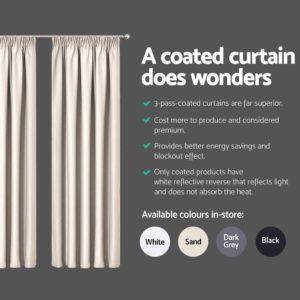 CURTAIN HOOK D213X240 SD 04 300x300 - Art Queen 2 Pencil Pleat 240x213cm Blockout Curtains - Sand