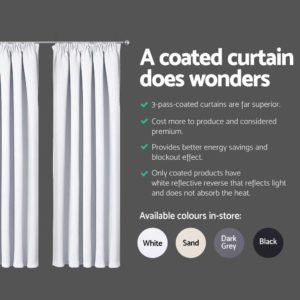 CURTAIN HOOK D213X240 WH 04 300x300 - Art Queen 2 Pencil Pleat 240x213cm Blockout Curtains - White