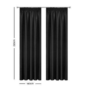 CURTAIN HOOK D230X140 BK 01 300x300 - Art Queen 2 Pencil Pleat 140x230cm Blockout Curtains - Black
