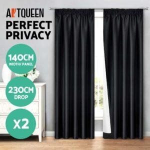 CURTAIN HOOK D230X140 BK 02 300x300 - Art Queen 2 Pencil Pleat 140x230cm Blockout Curtains - Black