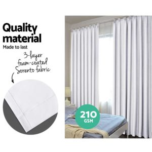 CURTAIN HOOK D230X140 WH 03 300x300 - Art Queen 2 Pencil Pleat 140x230cm Blockout Curtains - White