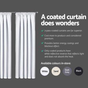 CURTAIN HOOK D230X140 WH 04 300x300 - Art Queen 2 Pencil Pleat 140x230cm Blockout Curtains - White