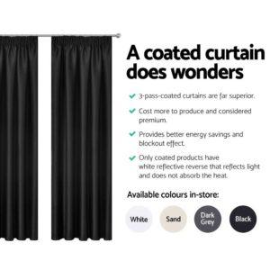 CURTAIN HOOK D230X180 BK 04 300x300 - Art Queen 2 Pencil Pleat 180x230cm Blockout Curtains - Black