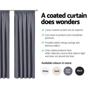 CURTAIN HOOK D230X180 DG 04 300x300 - Art Queen 2 Pencil Pleat 180x230cm Blockout Curtains - Dark Grey