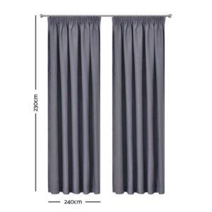 CURTAIN HOOK D230X240 DG 01 300x300 - Art Queen 2 Pencil Pleat 240x230cm Blockout Curtains - Dark Grey