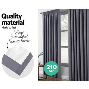 CURTAIN HOOK D230X240 DG 03 300x300 - Art Queen 2 Pencil Pleat 240x230cm Blockout Curtains - Dark Grey