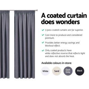 CURTAIN HOOK D230X240 DG 04 300x300 - Art Queen 2 Pencil Pleat 240x230cm Blockout Curtains - Dark Grey