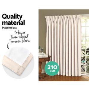 CURTAIN HOOK D230X240 SD 03 300x300 - Art Queen 2 Pencil Pleat 240x230cm Blockout Curtains - Sand