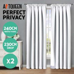 CURTAIN HOOK D230X240 WH 02 300x300 - Art Queen 2 Pencil Pleat 240x230cm Blockout Curtains - White