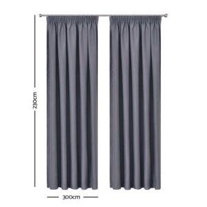 CURTAIN HOOK D230X300 DG 01 300x300 - Art Queen 2 Pencil Pleat 300x230cm Blockout Curtains - Dark Grey