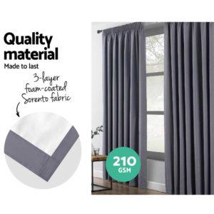 CURTAIN HOOK D230X300 DG 03 300x300 - Art Queen 2 Pencil Pleat 300x230cm Blockout Curtains - Dark Grey