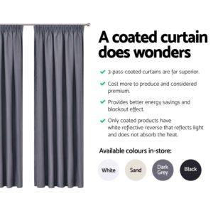 CURTAIN HOOK D230X300 DG 04 300x300 - Art Queen 2 Pencil Pleat 300x230cm Blockout Curtains - Dark Grey