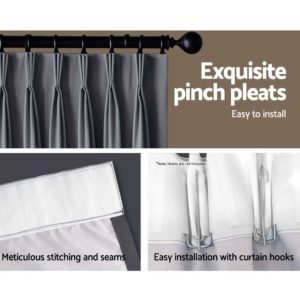 CURTAIN HOOK D230X300 DG 05 300x300 - Art Queen 2 Pencil Pleat 300x230cm Blockout Curtains - Dark Grey