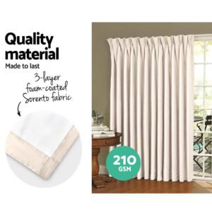 CURTAIN HOOK D230X300 SD 03 300x300 - Art Queen 2 Pencil Pleat 300x230cm Blockout Curtains - Sand